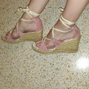 Coach pink suede lace up espadrilles